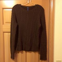 Gap women's stretch sweater. Women's gap stretch sweater. Dark brown and size large. Brand new condition.  98% cotton, 1% Lycra spandex and 1% other.  Very soft. GAP Sweaters Crew & Scoop Necks