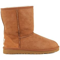 Ugg YouthS Classic Chestnut Sheepskin Boots ($120) ❤ liked on Polyvore featuring shoes, boots, ankle booties, uggs, brown, sheepskin booties, ugg® australia boots, brown booties, brown boots and sheepskin lined boots