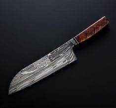 Composite Damascus Chef custom chef knife handmade by Nick Anger. Kitchen Knives, Kitchen Tools, Damascus Chef Knives, Hand Forged Knife, Knives And Tools, Chef Knife, Cutlery, Chefs, Weapons