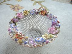 DRESDEN STYLE FLORAL ENCRUSTED RETICULATED PORCELAIN BOWL GORGEOUS EUROPEAN