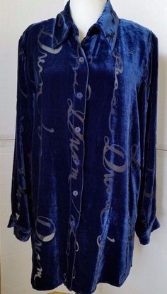Quacker Factory Womens Small Silk Velour Button Down Shirt  blue Burnout Print S #QuackerFactory #ButtonDownShirt #Casual