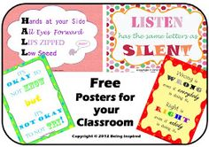 Being Inspired: Friday Freebie #5 - Classroom Posters