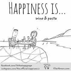 drinks (wine) / food (pasta)