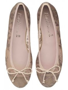 Beige Lace & Neutral Gold Leather with Girly Bow Ballerina #Shoes