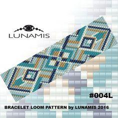 Bracelet pattern, loom pattern, square stitch pattern, pdf file, pdf pattern, cuff, #004L                                                                                                                                                      More