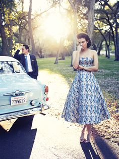 "This Christian Dior dress is to die for! The Walking Dead's Steven Yeun and Lauren Cohan in ""Spring Fashion 2014"" - Los Angeles magazine"