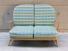 Vintage Ercol sofa covered in Thorns fabric in Marine/Kiwi, Hemp and Organic cotton