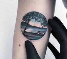 Here we have something extra ordinary landscape tattoo designs of forest, icebergs and mountains that inspire you every time. Detailliertes Tattoo, Lake Tattoo, Tree Tattoo Arm, Tattoo Trend, New Tattoos, Cool Tattoos, Tatoos, Kreis Tattoo, Scenery Tattoo