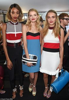 Seeing stripes! (L-R): Jourdan, Lily Donaldson and Cara all shared a moment before taking to the runway