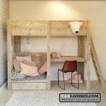 Steigerhouten hoogslaper met bureau Celine | VanLonden Steigerhout