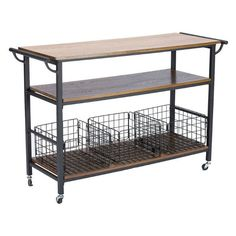 Kitchen Islands on Wheels Portable Large Rustic Industrial Coffee Station Cart  #BaxtonStudio