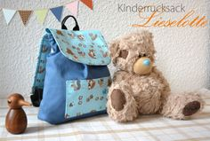 Kinderrucksack Lieselotte {FreeBook} Bag Patterns To Sew, Sewing Patterns Free, Sewing Tutorials, Sewing Projects, Sewing For Kids, Baby Sewing, Diy For Kids, 4 Kids, Sew Mama Sew