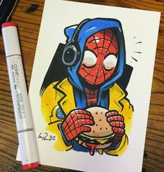 marvel drawings My boyfriend! Take Spiderman for l - marvel Cartoon Kunst, Comic Kunst, Comic Art, Marvel Drawings, Cartoon Drawings, Cute Drawings, Spiderman Kunst, Spiderman Drawing, Spiderman Spiderman