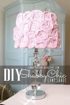 want to do this - but with white fabric - Simply Ciani: Shabby Chic Lamp Shade