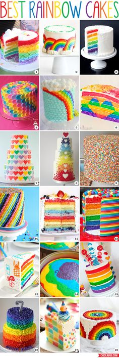 The BEST rainbow cakes! Including recipes & decorating ideas! I will never make any of these but I love how they all look!