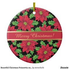 Beautiful Christmas Poinsettia on black