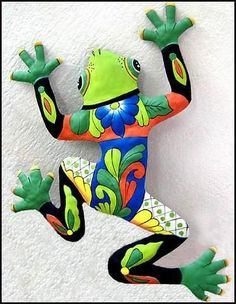 """Frog Wall Hanging - Hand Painted Metal Tropical Outdoor Decor - Haitian Steel Drum - 25"""" x 34"""" #TropicalDecor"""