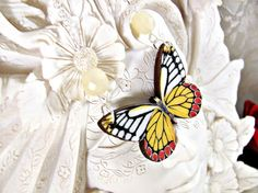 Red and Yellow Butterfly with cream glass beads by RebeccasWhims, $16.95