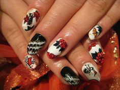 Day of the Dead Nail Art with Diamonds   Day of the Dead Nail Art