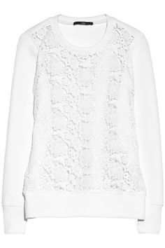 Tibi Neoprene and floral-lace sweatshirt