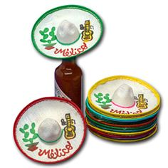 """Mini Mexico Sombreros 2"""" - 2.5"""" in diameter (Dozen for $7) to use as bottle toppers on favors for wedding"""