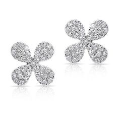 Anne Sisteron  14KT White Gold Diamond Mini Clover Stud Earrings ($680) ❤ liked on Polyvore featuring jewelry, earrings, white, diamond jewelry, white gold diamond earrings, white gold jewelry, white earrings and clover stud earrings