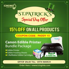 The Icinginks offers you 15% #Discount on buying #Canon #EdibleInkPrinter #BundlePackage and other numerous #products under Coupon Code - PADDY 15. The offer ends on March 19, 2018. Hurry!!! Just five #days remaining.