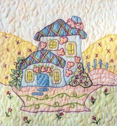 Periwinkle Lane - Block 6 Embroidery Pattern by Black Cat Creations - Jackie Theriot. BOM embroidery and crayon pattern of two houses. Hand Embroidery Designs, Vintage Embroidery, Embroidery Patterns, Quilt Patterns, Inktense Blocks, Oil Pastel Crayons, Fabric Embellishment, Quilting Designs, Quilting Ideas