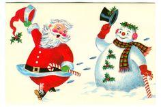 Vintage Christmas SANTA & SNOWMAN Brick Mill Studios Greeting Card! Unused!