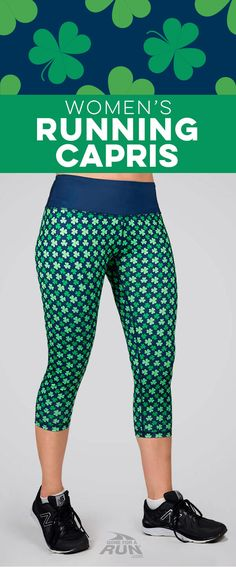 """These """"lucky"""" running Capri pants with an all-over shamrock design are perfect for my St. Patrick's Day race this year. They are going to be my favorite Capris this March!"""