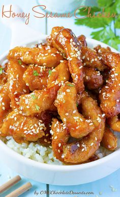 Honey Sesame Chicken | OMGChocolateDesserts.com | #chicken #sesame #honey