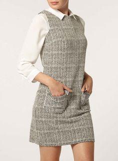 1960s-style check mini pinafore dress at Dorothy Perkins