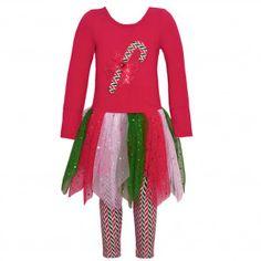 24574e0e1ce95 Bonnie Jean Little Girls Red Candy Cane Bow Applique 2 Pc Legging Set 2T-6X