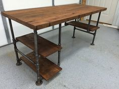 Rustic Reclaimed Barn Wood Computer Desk Table W/ 3 Shelf System- Solid Oak W/ 28 Black Iron Pipe legs. This unique item was created using salvaged Oak from an old Kentucky barn. The house on the farm was built in the late 1800s and the barn was standing when the current owners purchased