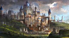 Castle green luminos blue game art anime tale manga fantasy castle fom Fantasy castle Fantasy landscape Fantasy city