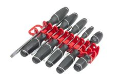 Portable screwdriver storage. 10 tool gripper with stubby insert.