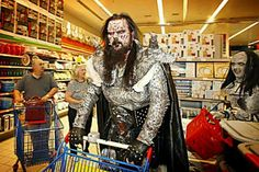 Lordi shopping, this may be the single greatest picture I have ever seen Great Pictures, Funny Pictures, Horror Movie Characters, Dangerous Minds, Black Angels, Music Clips, Never Grow Up, Heavy Metal Bands, Alternative Music