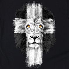 Lion Cross | Kerusso Kids Christian T-Shirt | Youth Sizes | Free U.S. Shipping