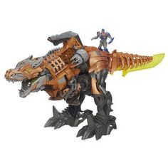 This is a BIG toy – 20 inches in size.  The Transformers Age of Extinction Stomp and Chomp Grimlock Figure transforms from a robot into a dinosaur with light-up eyes and chomping jaws.  The Stomp and Chomp Grimlock will fight the Decepticons, with its sword and other weaponary.