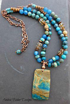 Stone, ceramic, metal beaded necklace. Jasper, agate stone and bronze metal.