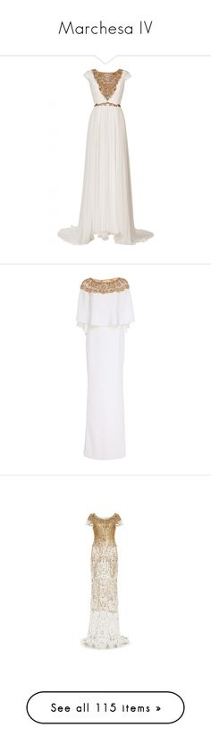 """""""Marchesa IV"""" by sakuragirl ❤ liked on Polyvore featuring dresses, gowns, long dress, evening gown, marchesa, white, beaded dresses, beaded evening gowns, white ball gowns and white beaded gown"""