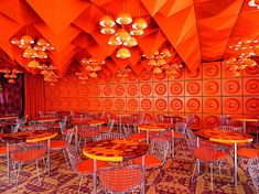 The Spiegel Canteen in Hamburg by Verner Panton incorporating the Bertoia Chair from Knoll International