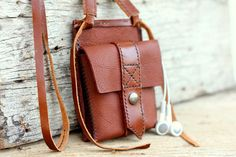 Trunk light brown leather iPhone wallet with by SakatanLeather