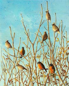 "© Jennifer Berry 2010 ""Birds at Winter Sunrise"" 10x8"" acrylic painting on canvas"