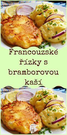 Francouzské řízky s bramborovou kaší Pizza Dough, Baked Potato, Potatoes, Homemade, Meat, Baking, Ethnic Recipes, Food, Roast