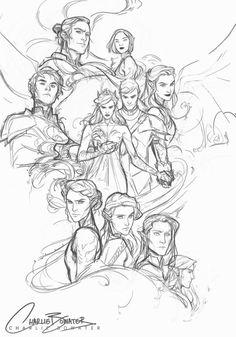 Az, Cassian, Amren, Mor, Rhys, Feyre Darling, Nesta the viper, Elaine, Eris?, Lucian