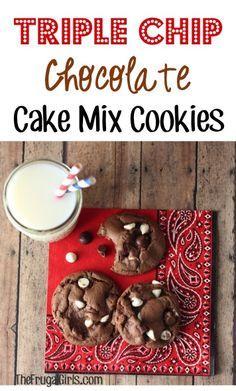 Triple Chip Chocolate Cake Mix Cookies!