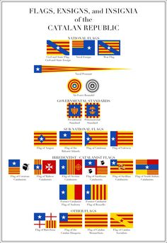 ae70df4a893 A set of flags and other insignia that I made to accompany my map of a  future Catalonia. They are mostly based on the Senyera (Catalan for  banner  .