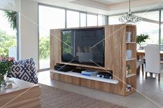 tv partition wall - different angle for TV and position of couch