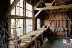 """Hops for home-brewed beer dry in the New England shed Mike Christie-Fogg built from discarded materials he found on job sites and roadsides. """"I'm a pack rat for recycled materials,"""" he says. Garden Shed Interiors, Rustic Shed, Backyard Storage, Design Jardin, Barns Sheds, Shed Design, Garden Design, Landscape Design, She Sheds"""